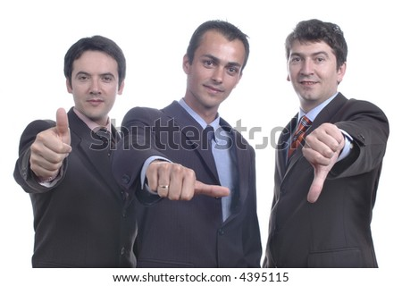 three happy and failed to meet men... - stock photo