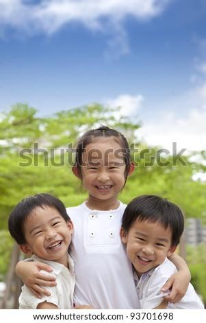 three happy asian kids - stock photo