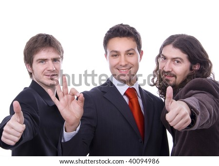 three happy business men together as a team thumb up - stock photo