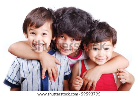Three happy children isolated: love, care, hug, smile