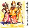 Three happy dancing African  women.Picture I have created myself with watercolors. - stock vector