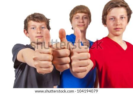 three happy friends enjoy life - stock photo