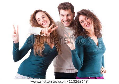 Three Happy Friends Showing Victory Sign