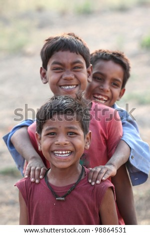 three happy indian kids - stock photo