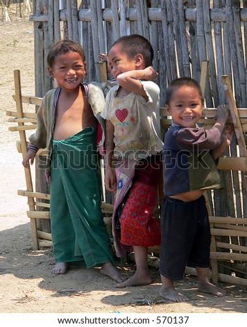 Three Happy Kids. Golden-Triangle Hilltribe. Asia. - stock photo