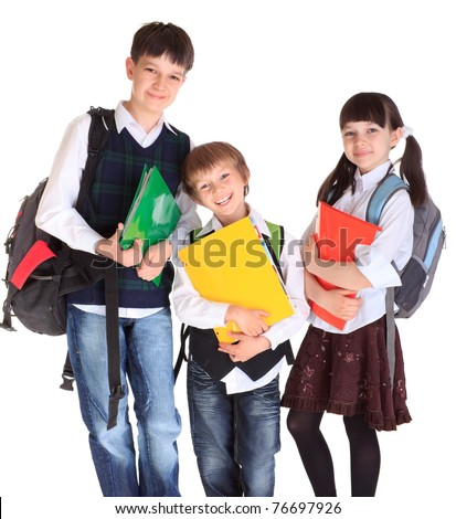 Three happy kids ready to go to school.