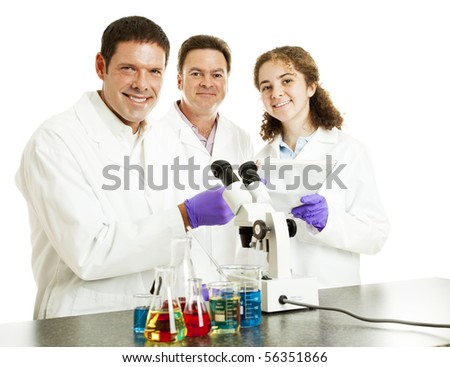Three happy scientists in their laboratory.  Isolated on white. - stock photo
