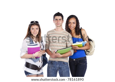 Three happy students holding books (isolated on white) - stock photo