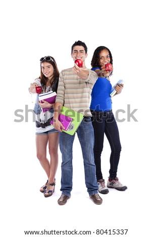 Three happy students holding books (isolated on white) - stock photo