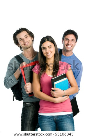 Three happy students standing together with fun, while smiling and looking at camera isolated on white background. - stock photo