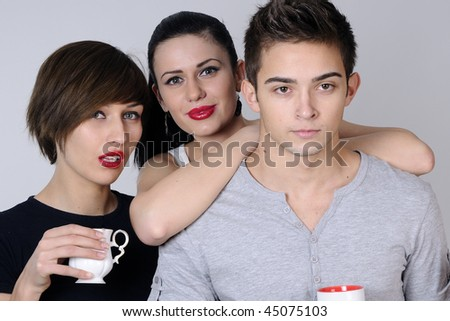 three happy young people - stock photo