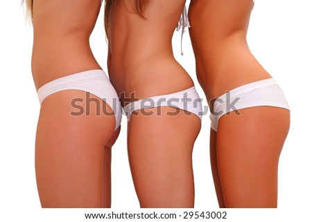 Three harmonous suntanned young women in a profile, in white underwear, isolated on a white background, please see some of my other parts of a body images: