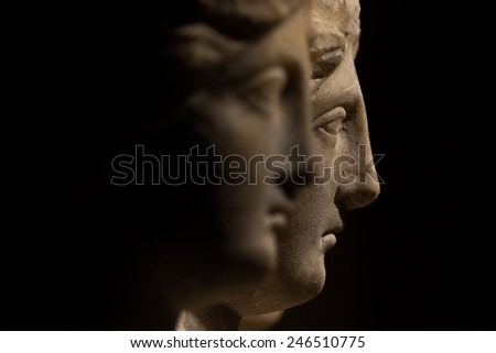Three headed roman-asian ancient statue of beautiful women, Goddess Hekate, black isolated, 2014 - stock photo