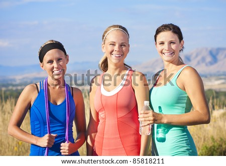 Three Healthy, Attractive Women ready to Work Out - stock photo