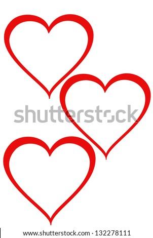 Three hearts on white background - stock photo
