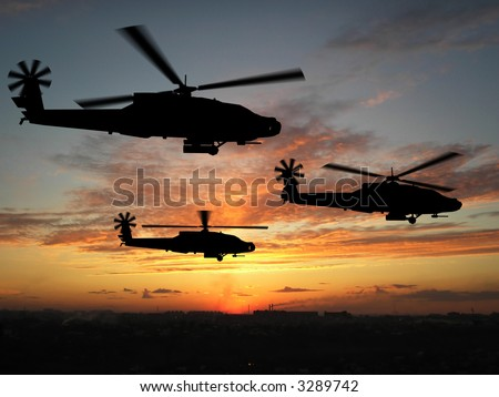 Three helicopters in Iraq over sunset - stock photo