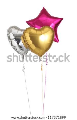 Three helium heart and star shape balloons - stock photo