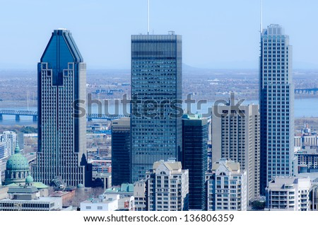 Three highest Montreal Skyscrapers from the top of Mount Royal, Quebec, Canada - stock photo