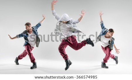 Three hip-hop dancers  - stock photo