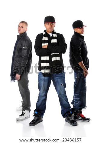 Three hip hop men posing isolated over a white background - stock photo