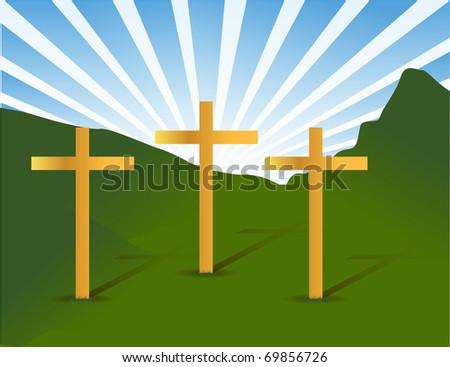 three holy crosses - stock photo