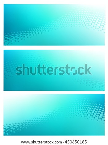 Three Horizontal High Resolution Abstract soft teal graphic design background templates for Healthcare,Finance and various communication arts. Plenty of space for text. - stock photo