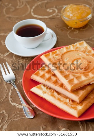 Three hot belgian waffles with gem and coffee - stock photo