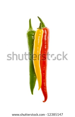 Three Hot Chili Peppers on white