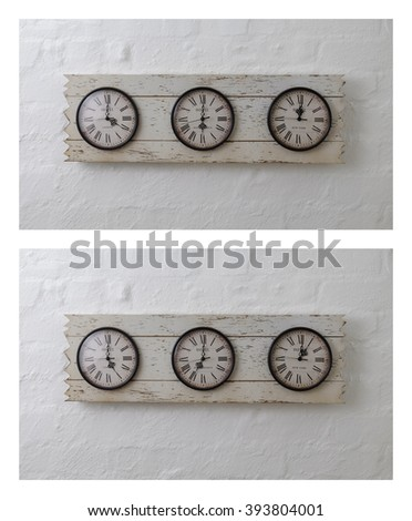 Three hotel travel clocks set in South Africa, London, New York time zones