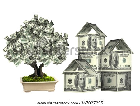 Three houses from dollars banknotes and money tree in pot.  Isolated on white background - stock photo
