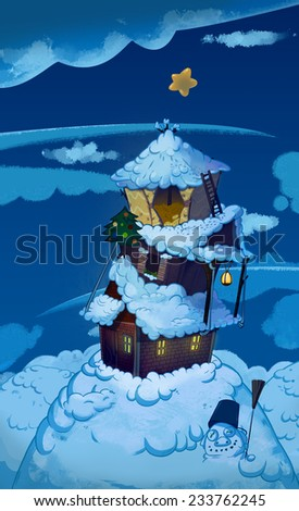 Three Houses one on top of another. Brick house, wooden house and straw house. Winter night fairy tale background image. Cartoon raster illustration. - stock photo