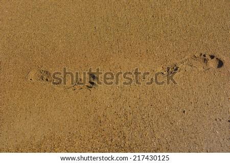 Three human footprints on the beach sand - stock photo