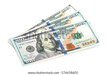 three hundred dollar bills on a white background - stock photo