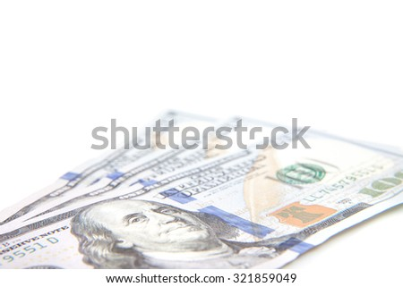 Three hundred dollar notes. All on white background. - stock photo