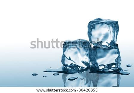 three ice cubes on blue reflective surface