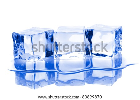 Three ice cubes with water isolated on white background