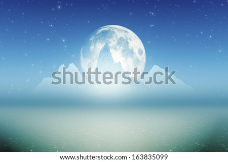three ice mountains with inner glow and big full moon - stock photo
