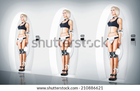 Three identical Female cyborg suit sexy maid. Robotic servants charging