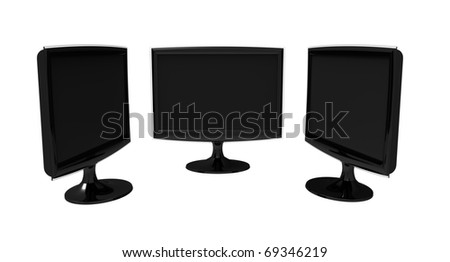 Three identical large-format monitors black on a white background - stock photo