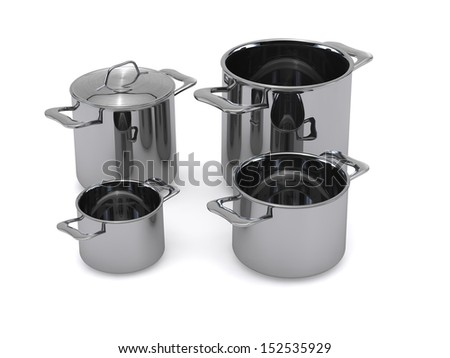Three identical optional stainless steel pots and pans rendering