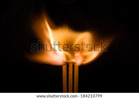 Three Igniting Matches / Three igniting matches at the moment they burst into life - stock photo