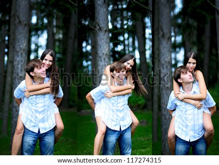 three images collage. Young man carrying his girlfriend on his back in park - stock photo