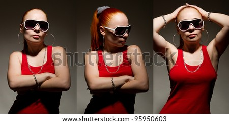 Three images of cool young rapper chick in chains and sunglasses - stock photo