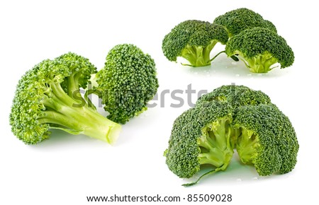 Three Images of Fresh, Raw, Green Broccoli Pieces, Cut and Ready to Eat Isolated on White - stock photo