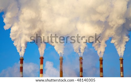 Three Industry chimney with clear smoke - stock photo