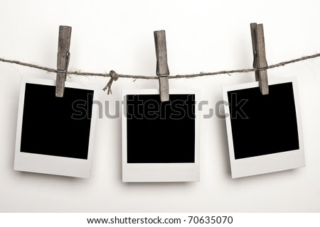 Three instant photos on a white background