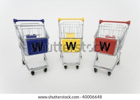 Three Internet- Shopping carts isolated on white background - stock photo