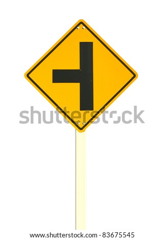 three intersection traffic sign - stock photo