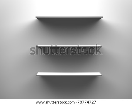 three isolated empty 3d shelves - stock photo