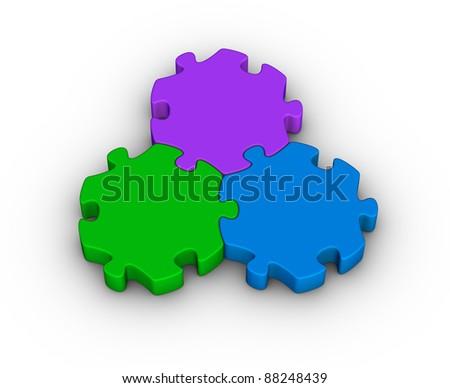 three jigsaw pieces (unity symbol) - stock photo